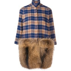 Ava Adore fur-panelled plaid coat - Neutrals found on MODAPINS from FarFetch.com- UK for USD $821.13