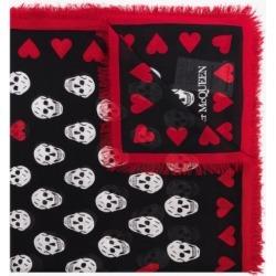 Alexander Mcqueen Womens Red Black Heart Biker Scarf found on Bargain Bro UK from Browns Fashion