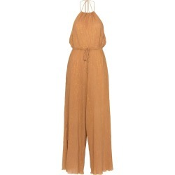 A Peace Treaty Sola halterneck lurex cotton blend jumpsuit - Yellow found on MODAPINS from FARFETCH.COM Australia for USD $172.30