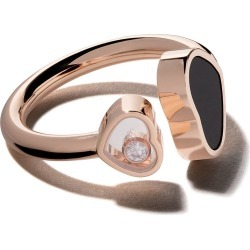 Chopard 18kt rose gold Happy Hearts onyx and diamond ring found on Bargain Bro India from FarFetch.com - US for $1710.00