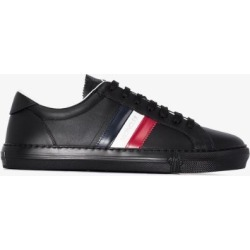 Moncler Mens Black New Monaco Striped Leather Sneakers found on Bargain Bro UK from Browns Fashion