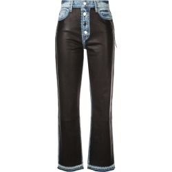 Amiri leather patch jeans - Blue found on MODAPINS from FARFETCH.COM Australia for USD $2091.41