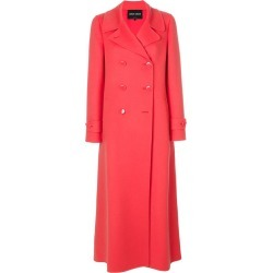 Giorgio Armani - double-breasted long coat - women - Silk/Cashmere/Wool - 42, Pink