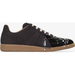 Maison Margiela Mens Black Paint Drop Replica Sneakers found on Bargain Bro UK from Browns Fashion