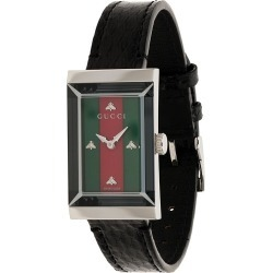 Gucci G-Frame striped face leather watch - Black found on Bargain Bro UK from FarFetch.com- UK