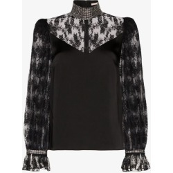 Christopher Kane Womens Black Embellished Lace Blouse found on MODAPINS from Browns Fashion for USD $1037.10
