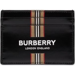 Burberry Mens Black Logo And Icon Stripe Print Leather Card Holder found on Bargain Bro UK from Browns Fashion
