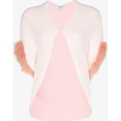 Loewe Womens White Feather Trim Knitted Bolero found on Bargain Bro UK from Browns Fashion