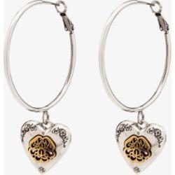 Alexander Mcqueen Womens Silver Tone Heart Locket Hoop Earrings found on Bargain Bro UK from Browns Fashion