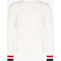 Thom Browne Mens White Aran Cable Crew Neck Pullover found on Bargain Bro UK from Browns Fashion