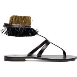 Álvaro black Ariana Raffia flat leather sandals found on MODAPINS from FarFetch.com- UK for USD $264.37