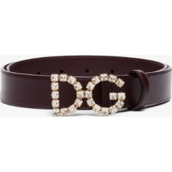 Dolce & Gabbana Womens Purple Brown Gold Tone Dg Crystal Leather Logo Belt found on Bargain Bro UK from Browns Fashion