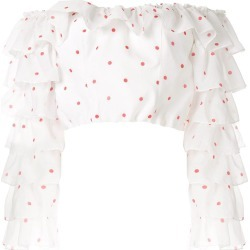 Bambah polka ruffle cropped blouse - White found on MODAPINS from FarFetch.com- UK for USD $757.25