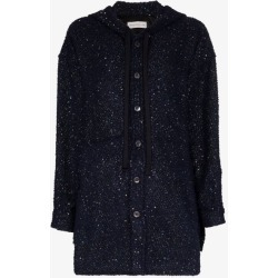 Faith Connexion Womens Blue Hooded Button-up Sequin Jacket found on MODAPINS from Browns Fashion for USD $1152.27