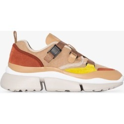 Chloé Womens Neutrals Nude Yellow And Brown Sonnie Leather Sneakers found on Bargain Bro UK from Browns Fashion