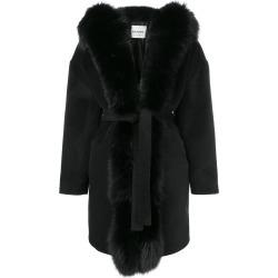 Ava Adore Phebe fox fur trim coat - Black found on MODAPINS from FARFETCH.COM Australia for USD $1633.20