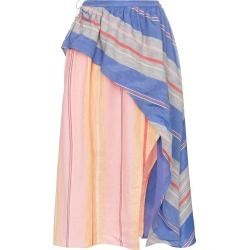 A Peace Treaty Tarouba stripe high waist silk cotton-blend skirt - found on MODAPINS from FarFetch.com- UK for USD $198.91