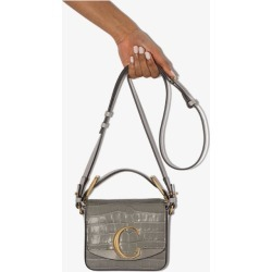 Chloé Womens Grey C Croc-effect Leather Shoulder Bag found on Bargain Bro UK from Browns Fashion