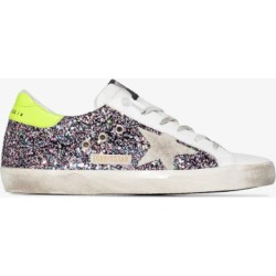 Golden Goose Womens Pink And Grey Superstar Glitter Sneakers found on Bargain Bro UK from Browns Fashion
