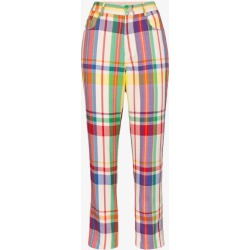 Area Womens Neutrals Crystal Rainbow Plaid Straight Leg Trousers found on MODAPINS from Browns Fashion for USD $939.35
