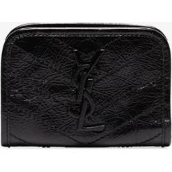 Saint Laurent Womens Black Niki Crinkled Leather Card Holder found on Bargain Bro UK from Browns Fashion