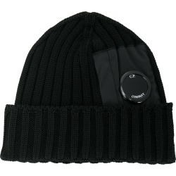 CP Company lens detail knitted hat - Black found on Bargain Bro UK from FarFetch.com- UK