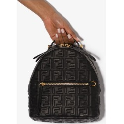 Fendi Womens Black Embossed Ff Logo Leather Backpack found on Bargain Bro UK from Browns Fashion