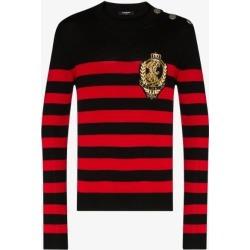 Balmain Mens Black Logo Badge Striped Sweater found on Bargain Bro UK from Browns Fashion