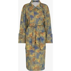 Delada Womens Green Tie-dye Print Trench Coat found on MODAPINS from Browns Fashion for USD $1304.57
