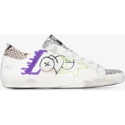 Golden Goose Womens White Superstar Glittered Leather Love Sneakers found on Bargain Bro UK from Browns Fashion