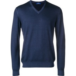 Barba knit V-neck sweater - Blue found on MODAPINS from FarFetch.com- UK for USD $194.59