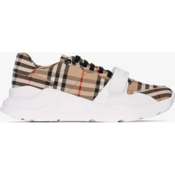 Burberry Mens Brown Beige Regis Vintage Check Sneakers found on Bargain Bro UK from Browns Fashion
