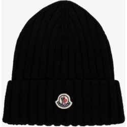 Moncler Womens Black Virgin Wool Beanie Hat found on Bargain Bro UK from Browns Fashion