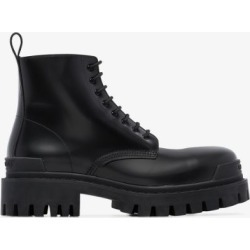 Balenciaga black strike leather boots