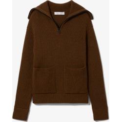 Proenza Schouler White Label Chunky Rib Half Zip Knit Cardigan fatigue mouline/brown M