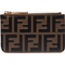Fendi Womens Brown Ff Logo Leather Card Holder found on Bargain Bro UK from Browns Fashion