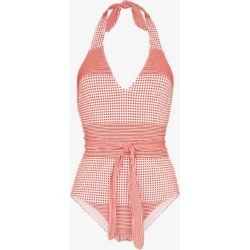 Lemlem Womens Red Semira Printed Belted Swimsuit found on MODAPINS from Browns Fashion for USD $319.10