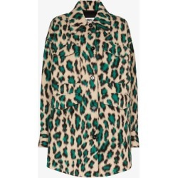 Mm6 Maison Margiela Womens Green Leopard Print Single-breasted Coat found on Bargain Bro UK from Browns Fashion