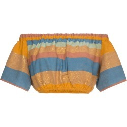 A Peace Treaty Striped cotton and silk crop top - Yellow found on MODAPINS from FARFETCH.COM Australia for USD $78.97