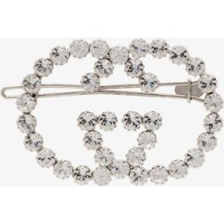 Gucci Womens Silver Tone Crystal Embellished Gg Hair Pin found on Bargain Bro UK from Browns Fashion