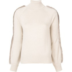 Agnona fur appliqué turtleneck jumper - Neutrals found on MODAPINS from FarFetch.com - US for USD $1580.00