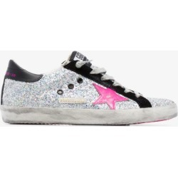Golden Goose Silver Superstar glitter low top sneakers found on Bargain Bro UK from Browns Fashion