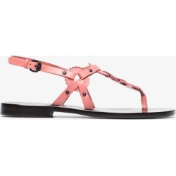 Álvaro pink Ando 20 circle detail flat leather sandals found on MODAPINS from Browns Fashion for USD $465.79