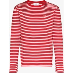 Ami Mens Red Ami Mens Red De Coeur Striped T-shirt found on Bargain Bro UK from Browns Fashion