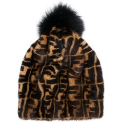 80accd0333a Fendi logo fur beanie - Brown found on MODAPINS from FarFetch.com - US for