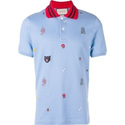 760cef875b3 Gucci patched motifs polo shirt - Blue found on MODAPINS from FARFETCH.COM  Australia for