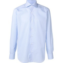 Barba micro check shirt - Blue found on MODAPINS from FARFETCH.COM Australia for USD $165.19