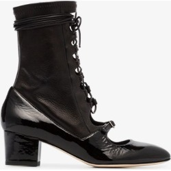 Liudmila Womens Black Mille Hortense 50 Leather Lace Up Boots