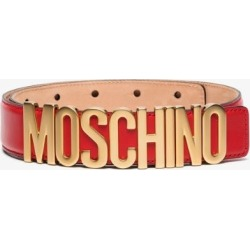 Moschino Womens Red Logo Leather Belt found on Bargain Bro UK from Browns Fashion
