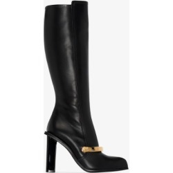 Alexander Mcqueen Womens Black Embellished Leather Knee Boots found on Bargain Bro UK from Browns Fashion